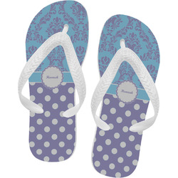 Purple Damask & Dots Flip Flops (Personalized)