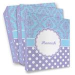 Purple Damask & Dots 3 Ring Binder - Full Wrap (Personalized)