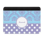 Purple Damask & Dots Genuine Leather Front Pocket Wallet (Personalized)
