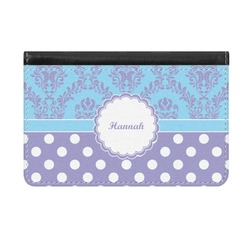 Purple Damask & Dots Genuine Leather ID & Card Wallet - Slim Style (Personalized)