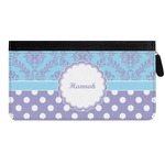 Purple Damask & Dots Genuine Leather Ladies Zippered Wallet (Personalized)