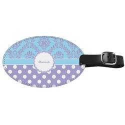 Purple Damask & Dots Genuine Leather Oval Luggage Tag (Personalized)