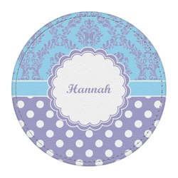 Purple Damask & Dots Round Desk Weight - Genuine Leather  (Personalized)