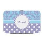 Purple Damask & Dots Genuine Leather Small Framed Wallet (Personalized)