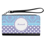 Purple Damask & Dots Genuine Leather Smartphone Wrist Wallet (Personalized)