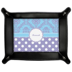 Purple Damask & Dots Genuine Leather Valet Tray (Personalized)