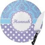 Purple Damask & Dots Round Glass Cutting Board (Personalized)