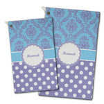 Purple Damask & Dots Golf Towel - Full Print w/ Name or Text