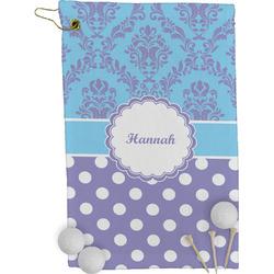 Purple Damask & Dots Golf Towel - Full Print (Personalized)