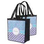 Purple Damask & Dots Grocery Bag (Personalized)