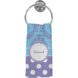 Purple Damask & Dots Hand Towel - Full Print (Personalized)