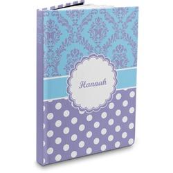 Purple Damask & Dots Hardbound Journal (Personalized)