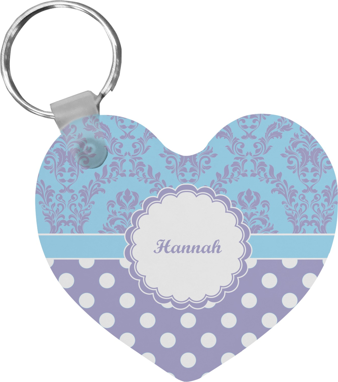 purple damask dots heart keychain personalized youcustomizeit