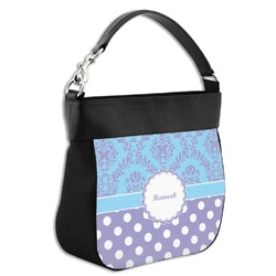 Purple Damask & Dots Hobo Purse w/ Genuine Leather Trim w/ Name or Text