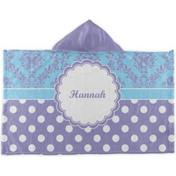 Purple Damask & Dots Kids Hooded Towel (Personalized)