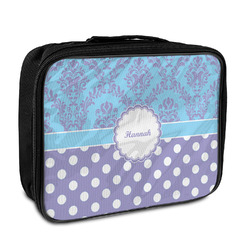 Purple Damask & Dots Insulated Lunch Bag (Personalized)