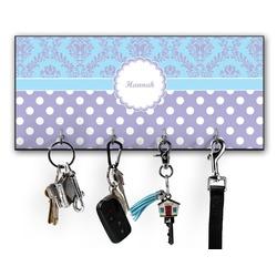 Purple Damask & Dots Key Hanger w/ 4 Hooks (Personalized)