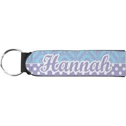 Purple Damask & Dots Neoprene Keychain Fob (Personalized)