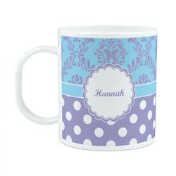 Purple Damask & Dots Plastic Kids Mug (Personalized)