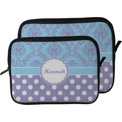 Purple Damask & Dots Laptop Sleeve / Case (Personalized)