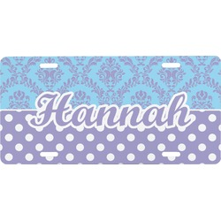 Purple Damask & Dots Front License Plate (Personalized)