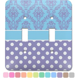Purple Damask & Dots Light Switch Cover (2 Toggle Plate) (Personalized)
