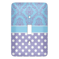 Purple Damask & Dots Light Switch Covers - Multiple Toggle Options Available (Personalized)