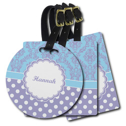Purple Damask & Dots Plastic Luggage Tags (Personalized)