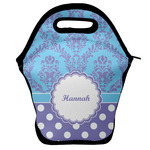 Purple Damask & Dots Lunch Bag w/ Name or Text
