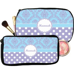 Purple Damask & Dots Makeup / Cosmetic Bag (Personalized)