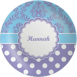 Purple Damask & Dots Melamine Plate (Personalized)