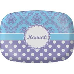 Purple Damask & Dots Melamine Platter (Personalized)