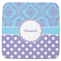 """Purple Damask & Dots Memory Foam Bath Mat - 48""""x48"""" (Personalized)"""