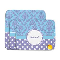 Purple Damask & Dots Memory Foam Bath Mat (Personalized)