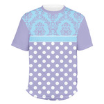 Purple Damask & Dots Men's Crew T-Shirt (Personalized)