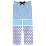 Purple Damask & Dots Mens Pajama Pants (Personalized)