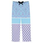 Purple Damask & Dots Mens Pajama Pants (Personalized)
