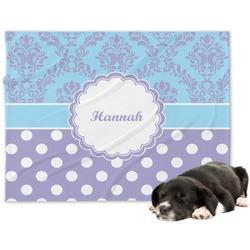 Purple Damask & Dots Minky Dog Blanket - Large  (Personalized)