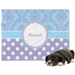 Purple Damask & Dots Minky Dog Blanket (Personalized)