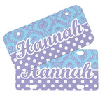Purple Damask & Dots Mini/Bicycle License Plates (Personalized)