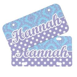 Purple Damask & Dots Mini/Bicycle License Plates (Personalized)