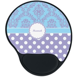 Purple Damask & Dots Mouse Pad with Wrist Support