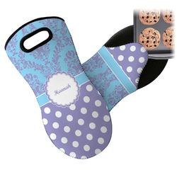 Purple Damask & Dots Neoprene Oven Mitt (Personalized)