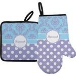 Purple Damask & Dots Oven Mitt & Pot Holder (Personalized)