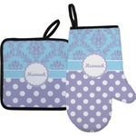 Purple Damask & Dots Oven Mitt & Pot Holder (Personalized)