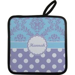 Purple Damask & Dots Pot Holder w/ Name or Text