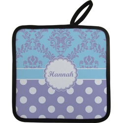 Purple Damask & Dots Pot Holder (Personalized)