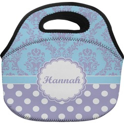 Purple Damask & Dots Lunch Bag (Personalized)