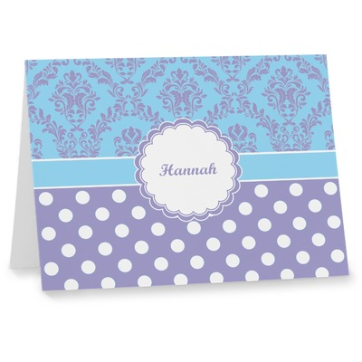 Purple Damask & Dots Note cards (Personalized)