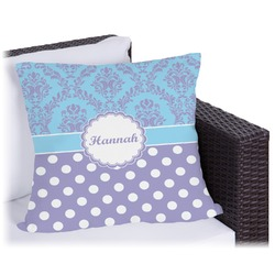 Purple Damask & Dots Outdoor Pillow (Personalized)
